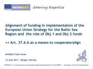 Workshop: Alignment of funding in implementation of the EUSBSR