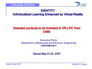 IDENTITY  Individualized Learning Enhanced by Virtual Reality