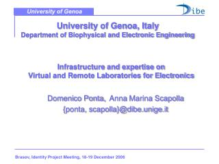 University of Genoa, Italy Department of Biophysical and Electronic Engineering