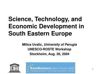 Science, Technology, and Economic Development in South Eastern Europe