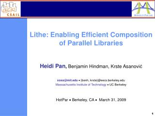 Lithe: Enabling Efficient Composition of Parallel Libraries
