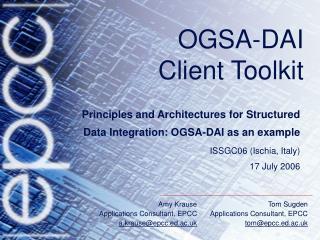 OGSA-DAI  Client Toolkit