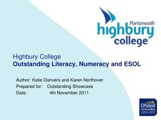 Highbury College Outstanding Literacy, Numeracy and ESOL