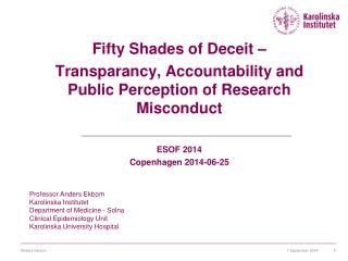 Fifty Shades of Deceit – Transparancy, Accountability and Public Perception of Research Misconduct