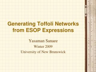 Generating Toffoli Networks from ESOP Expressions