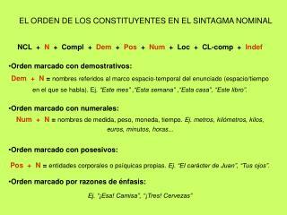 EL ORDEN DE LOS CONSTITUYENTES EN EL SINTAGMA NOMINAL