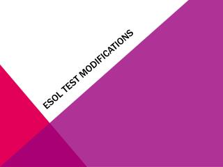 ESOL Test modifications