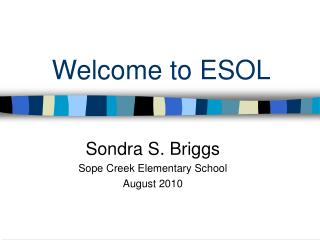 Welcome to ESOL