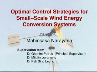 Optimal Control Strategies for Small Scale Wind Energy Conversion Systems