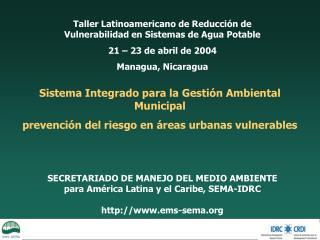 Taller Latinoamericano de Reducción de Vulnerabilidad en Sistemas de Agua Potable
