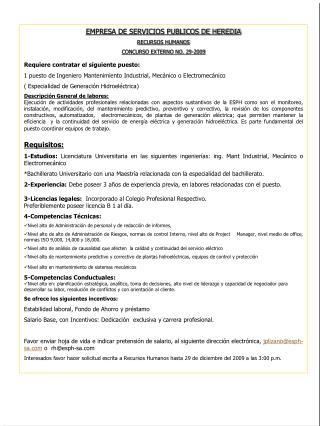 EMPRESA DE SERVICIOS PUBLICOS DE HEREDIA RECURSOS HUMANOS  CONCURSO EXTERNO NO. 29-2009