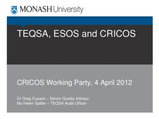 TEQSA, ESOS and CRICOS