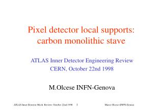 Pixel detector local supports: carbon monolithic stave