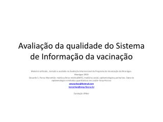Avaliação da qualidade do Sistema de Informação da vacinação