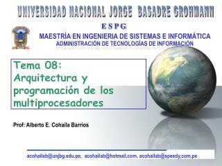 Tema 08:  Arquitectura y programación de los multiprocesadores