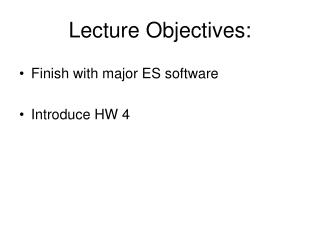Lecture Objectives: