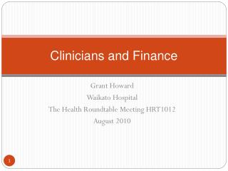 Clinicians and Finance