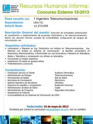 Recursos Humanos informa: Concurso Externo 12-2013