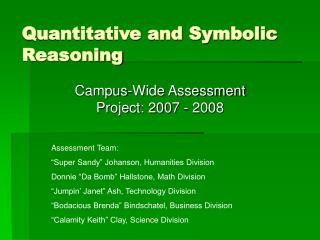 Quantitative and Symbolic Reasoning