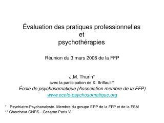 Évaluation des pratiques professionnelles et psychothérapies