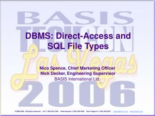 DBMS: Direct-Access and SQL File Types