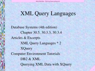 XML Query Languages