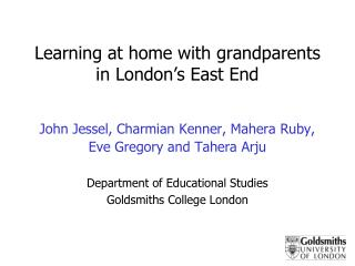 Learning at home with grandparents in London�s East End