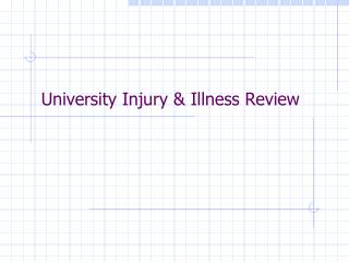 University Injury & Illness Review