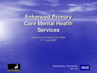 Enhanced Primary Care Mental Health Services