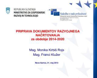 Mag. Monika Kirbiš Rojs Mag. Franci Klužer Nova Gorica, 31. maj 2013