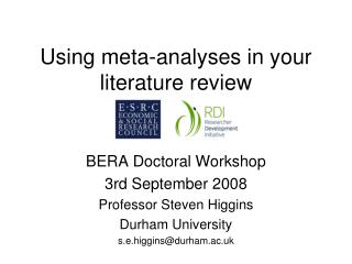 Using meta-analyses in your literature review