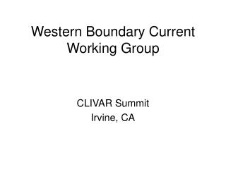 Western Boundary Current Working Group