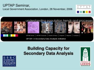 Building Capacity for Secondary Data Analysis