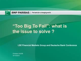 """Too Big To Fail"": what is the issue to solve ?"