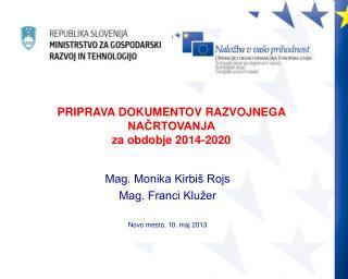 Mag. Monika Kirbiš Rojs Mag. Franci Klužer Novo mesto, 10. maj 2013