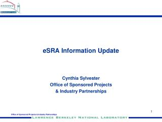 eSRA Information Update