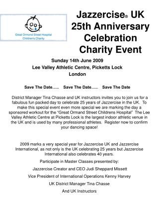 Jazzercise  UK 25th Anniversary Celebration Charity Event