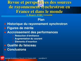 Plan Historique du rayonnement synchrotron Figures de m érite Accroissement des performances
