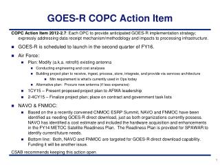 GOES-R COPC Action Item