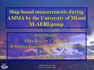 Ship-based measurements during AMMA by the University of Miami M-AERI group