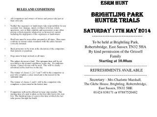 ESRM HUNT BRIGHTLING PARK HUNTER TRIALS Saturday 17th May 2014 -----------------------------