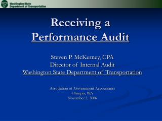 Receiving a  Performance Audit