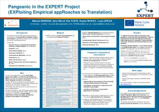Pangeanic in the  EXPERT Project  (EXPloiting Empirical appRoaches to Translation)