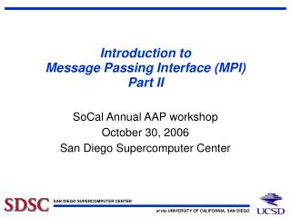 Introduction to Message Passing Interface (MPI) Part II