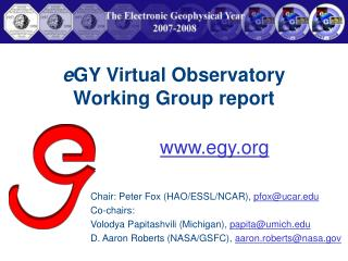 e GY Virtual Observatory Working Group report