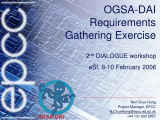 OGSA-DAI Requirements Gathering Exercise