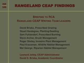 RANGELAND CEAP FINDINGS