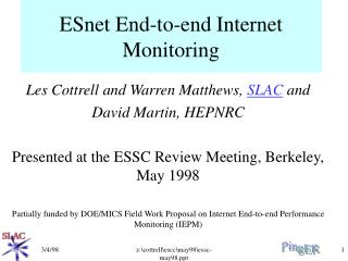 ESnet End-to-end Internet Monitoring