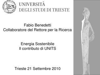 Fabio Benedetti Collaboratore del Rettore per la Ricerca Energia Sostenibile