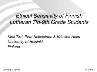 Ethical Sensitivity of Finnish Lutheran 7th-9th Grade Students